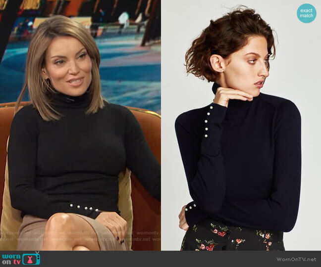 Turtleneck Sweater with Pearl Buttons by Zara worn by Kit Hoover  on Access Hollywood