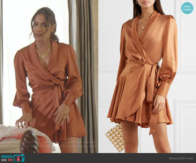 Super Eight Silk Wrap Mini Dress by Zimmermann worn by Cristal Jennings (Daniella Alonso) on Dynasty
