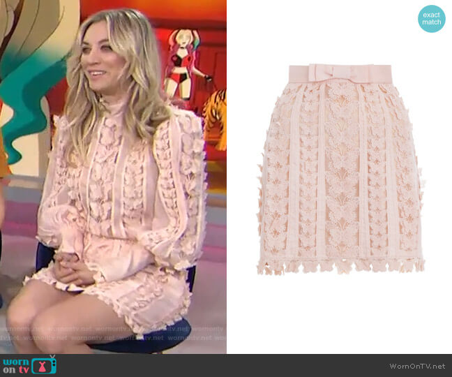 Super Eight Flutter Mini Skirt by Zimmermann worn by Kaley Cuoco on Today Show