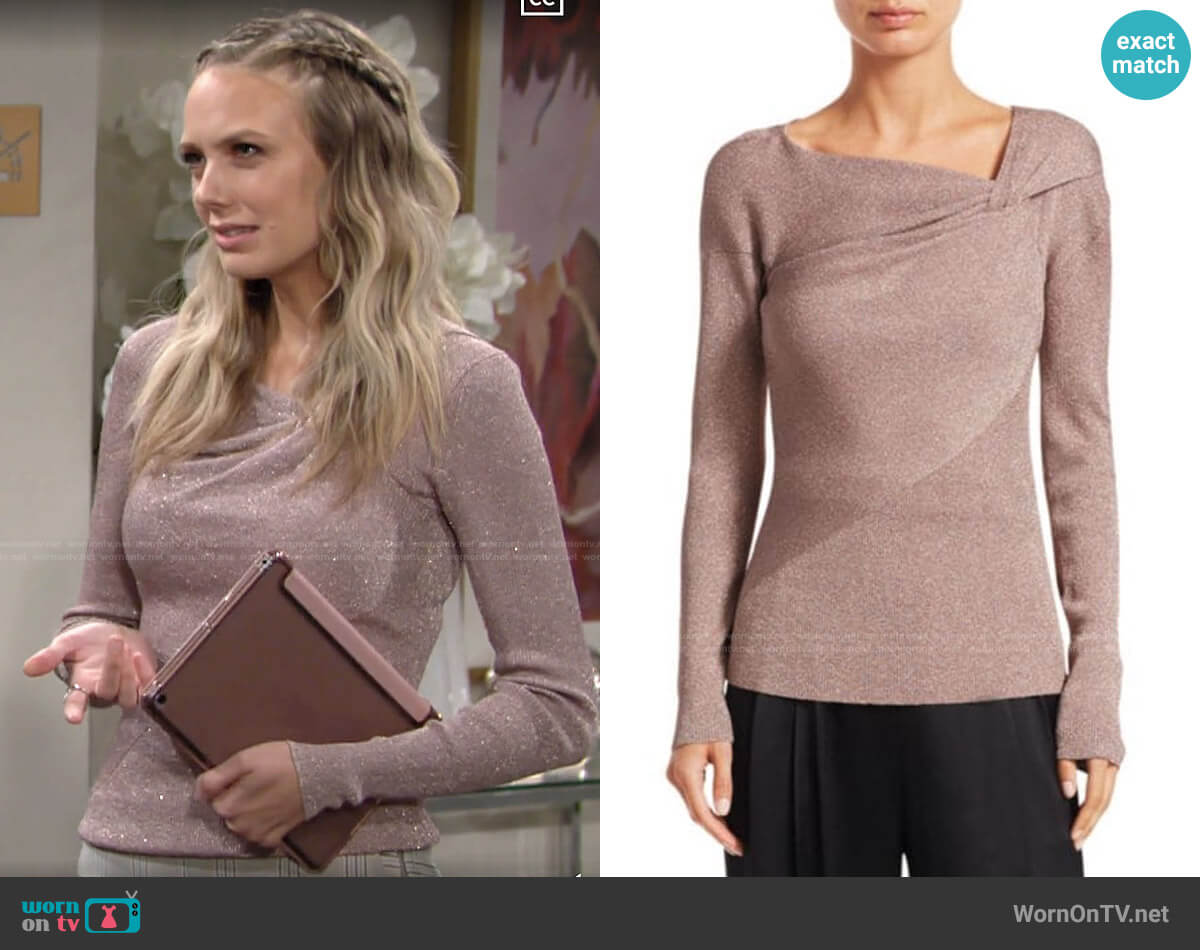 3.1 Phillip Lim Twist-Neck Ribbed Lurex Sweater worn by Abby Newman (Melissa Ordway) on The Young & the Restless