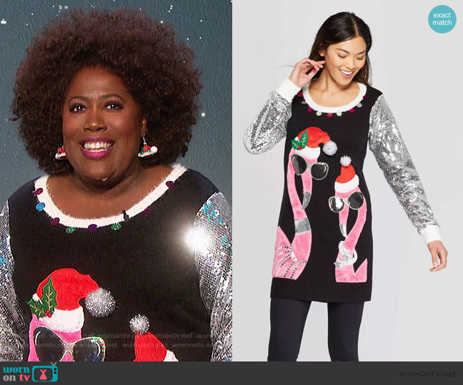 Flamingo Tunic Ugly Holiday Sweater by 33 Degrees at Target worn by Sheryl Underwood  on The Talk