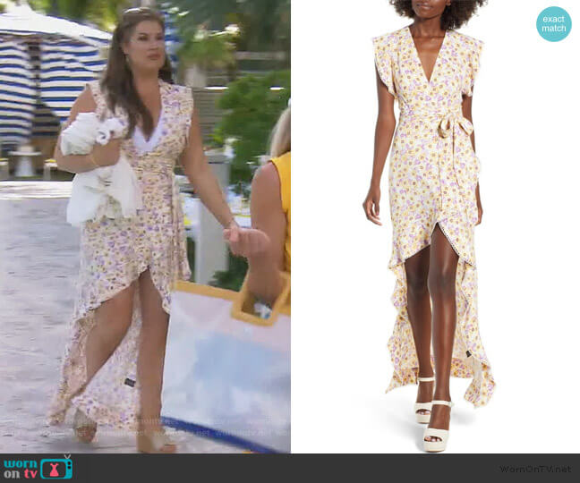 Andrea Ruffle Wrap Dress by AFRM worn by Emily Simpson  on The Real Housewives of Orange County