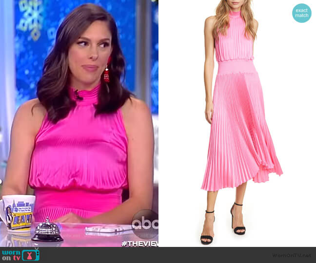 Renzo Pleated Sleeveless Midi Dress by A.L.C. worn by Abby Huntsman  on The View