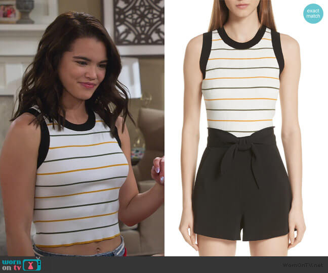 Rita Stripe Rib Knit Top by A.L.C. worn by Alexa Mendoza (Paris Berelc) on Alexa & Katie