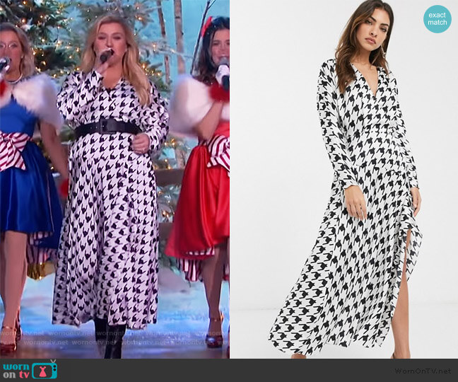 Wrap Front Midi Dress by ASOS worn by Kelly Clarkson  on The Kelly Clarkson Show