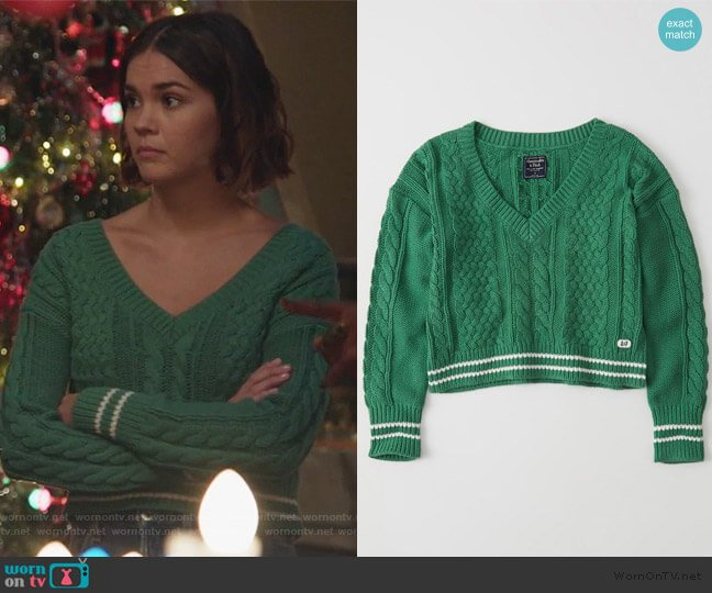 Cropped Cable V-neck Sweater by Abercrombie & Finch worn by Callie Foster (Maia Mitchell) on Good Trouble