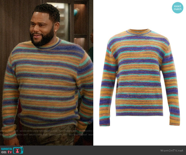 Acne Studios Nosti striped crew-neck sweater worn by Andre Johnson (Anthony Anderson) on Blackish