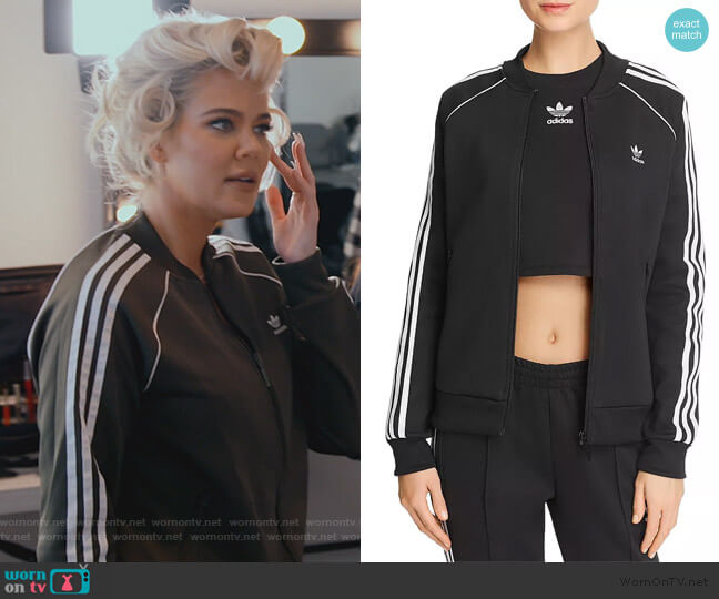 Stripe-Detail Track Jacket by Adidas worn by Khloe Kardashian  on Keeping Up with the Kardashians