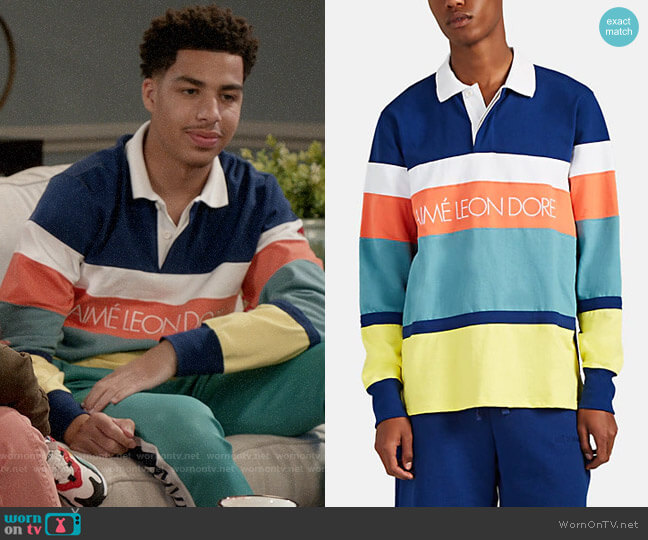 Aime Leon Dore Colorblocked Cotton Rugby Shirt worn by Andre Johnson Jr (Marcus Scribner) on Blackish