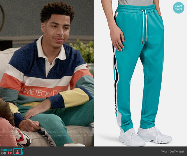 Aime Leon Dore Striped Tech-Knit Track Pants worn by Andre Johnson Jr (Marcus Scribner) on Blackish