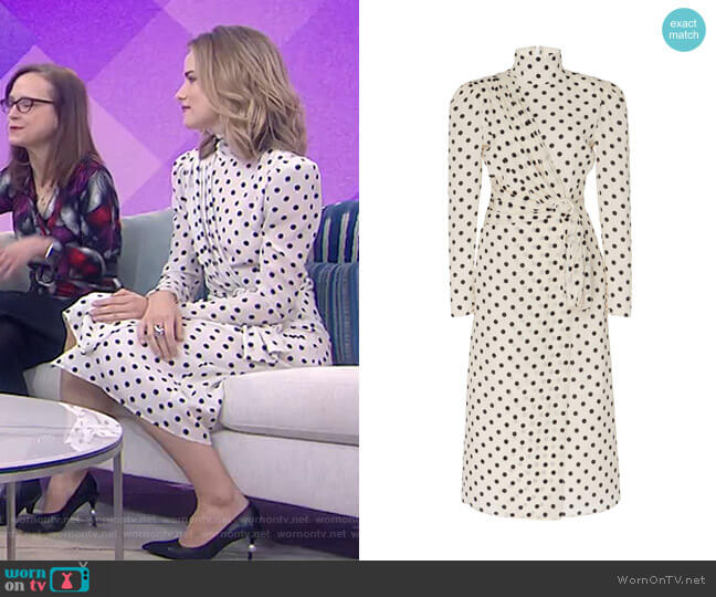 Draped Mock Neck Silk Dot Dress by Alessandra Rich worn by Willa Fitzgerald on Today Show