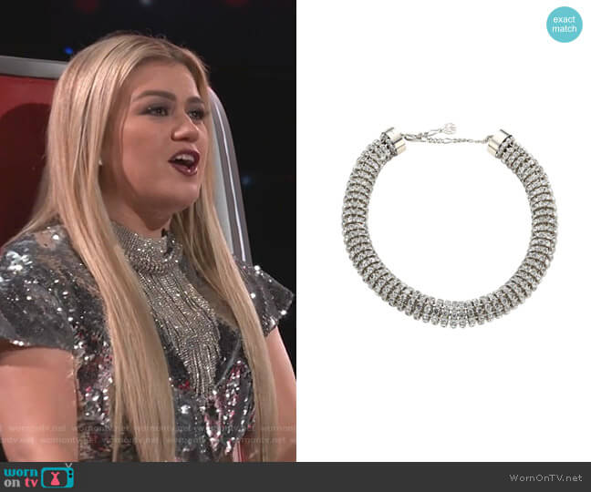 Swarovski Crystal Tubular Choker Necklace by Alexander McQueen worn by Kelly Clarkson  on The Voice