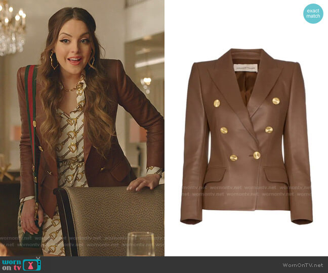 Double-Breasted Leather Blazer by Alexandre Vauthier  worn by Fallon Carrington (Elizabeth Gillies) on Dynasty