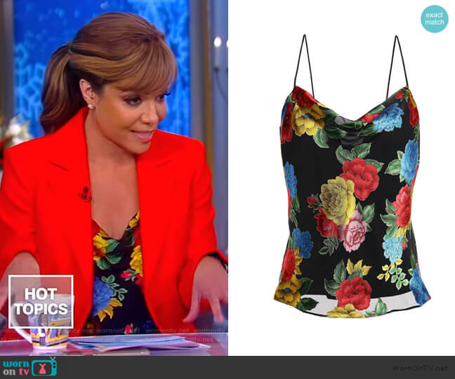 Camellia Bouquet devoré-chiffon camisole by Alice + Olivia worn by Sunny Hostin  on The View