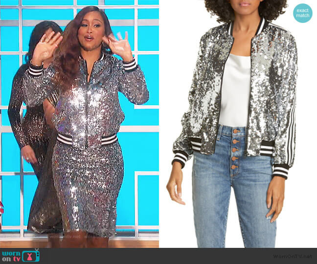 Lonnie Sequin Cropped Bomber Jacket by Alice + Olivia worn by Eve  on The Talk