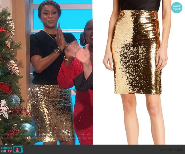 Ramos Sequin Fitted Skirt by Alice + Olivia worn by Eve  on The Talk