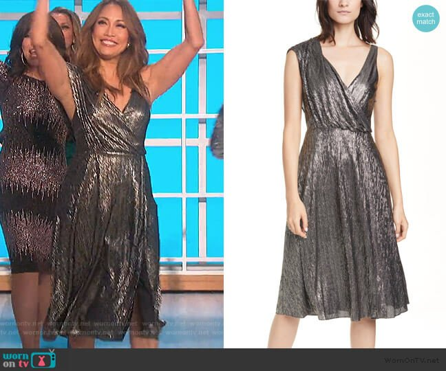 Roxy Metallic Drape Front Sleeveless Midi Dress by Alice + Olivia worn by Carrie Inaba  on The Talk