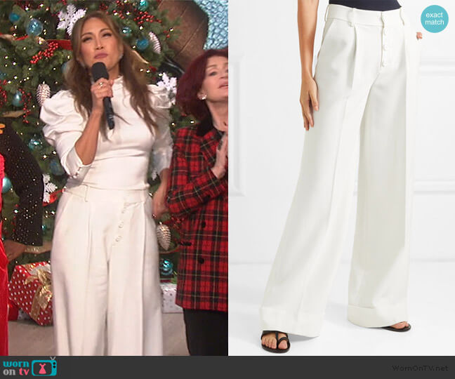 Tomasa crepe wide-leg pants by Alice + Olivia worn by Carrie Inaba  on The Talk