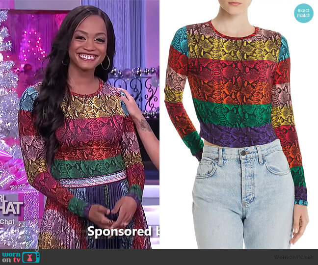 Delaina Stripe Crop Top by Alice + Olivia worn by Rachel Lindsay on The Real
