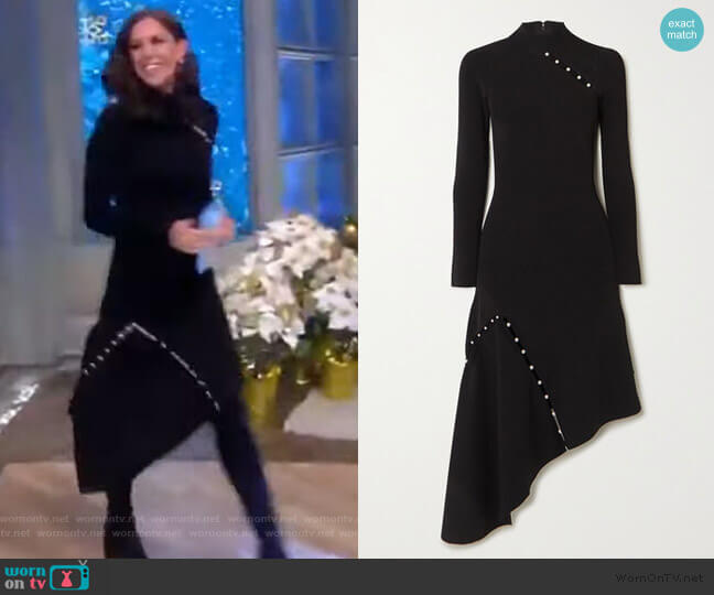 Kam asymmetric faux pearl-embellished stretch-cady dress by Alice + Olivia worn by Abby Huntsman  on The View
