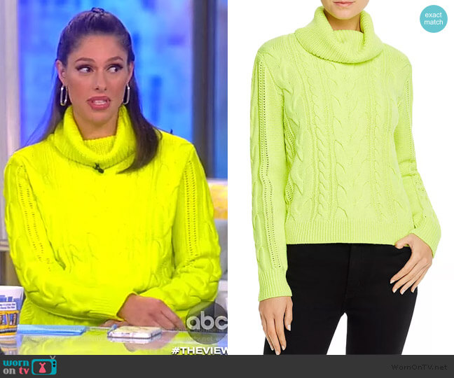 Mayme Cable-Knit Cowl-Neck Sweater by Alice + Olivia worn by Abby Huntsman  on The View