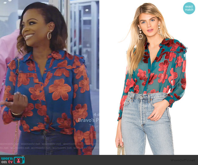 Ziggy Ruffle Sleeve Blouse by Alice + Olivia worn by Kandi Burruss  on The Real Housewives of Atlanta