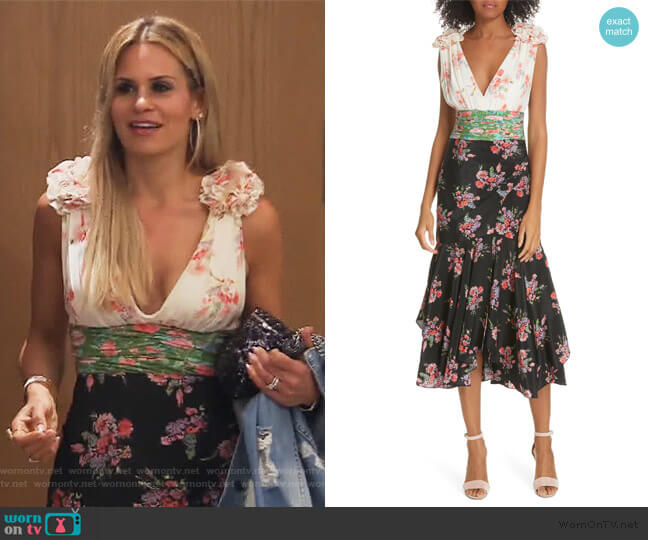 Lolly Floral Print Silk Dress by Amur worn by Jackie Goldschneider  on The Real Housewives of New Jersey