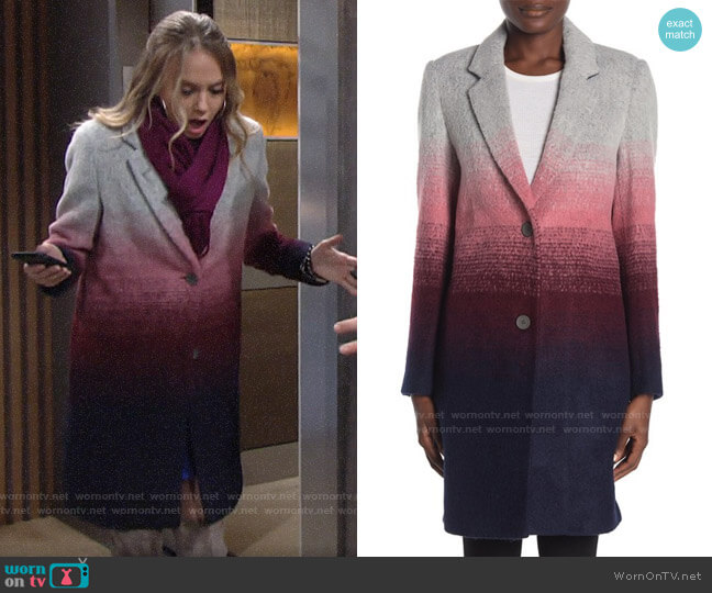 Andrew Marc Belair Dip Dye Print Coat worn by Abby Newman (Melissa Ordway) on The Young & the Restless
