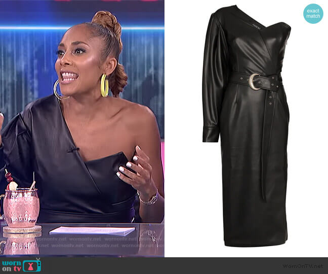 One-Shoulder Faux Leather Midi Dress by Anouki worn by Amanda Seales on The Real