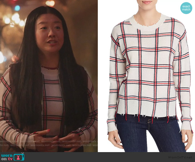 Distressed Plaid Cashmere Sweater by Aqua worn by Alice Kwan (Sherry Cola) on Good Trouble