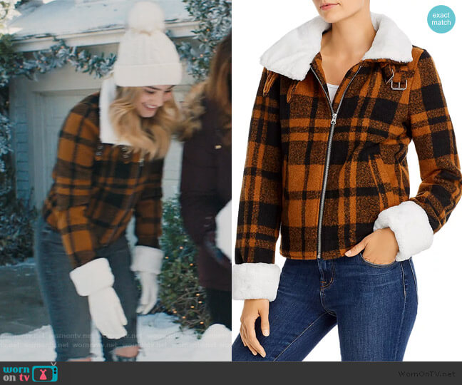 Faux-Fur Trim Plaid Coat by Aqua worn by Taylor Otto (Meg Donnelly) on American Housewife