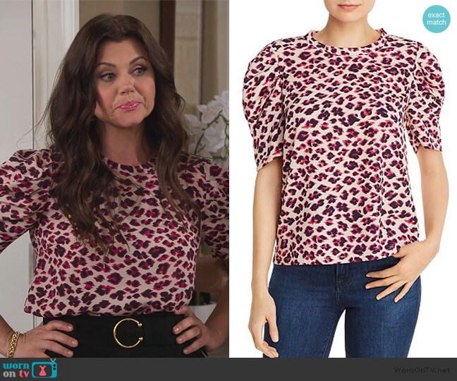 Puff-Sleeve Leopard Print Top by Aqua worn by Lori Mendoza (Tiffani Thiessen) on Alexa & Katie