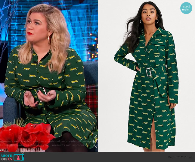 Petite Midi Shirt Dress in Tiger Print by Glamorous at ASOS worn by Kelly Clarkson  on The Kelly Clarkson Show