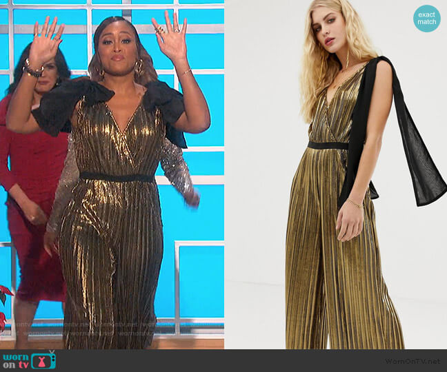 metallic wide leg jumpsuit with bow shoulders by Moon River worn by Eve  on The Talk