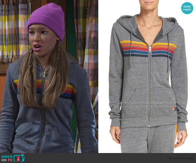 5-Stripe Zip Hoodie by Aviator Nation worn by Ava (Shelby Simmons) on Bunkd