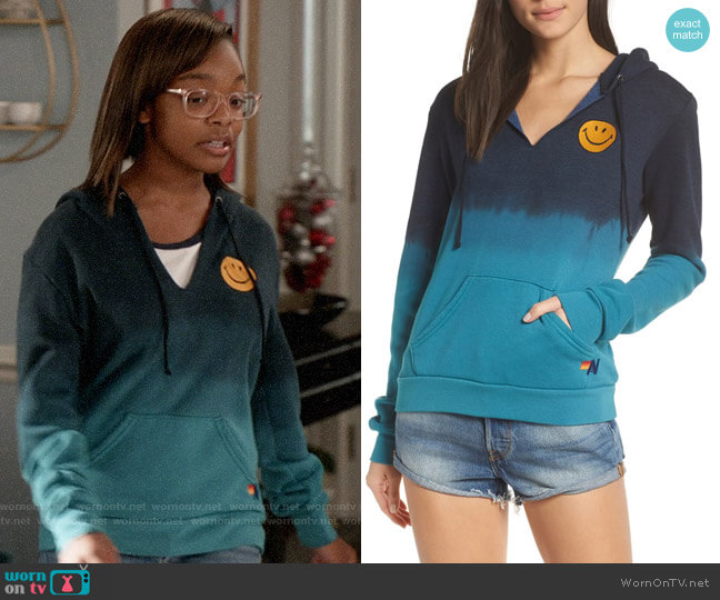 Aviator Nation Faded Smile Hoodie worn by Diane Johnson (Marsai Martin) on Blackish