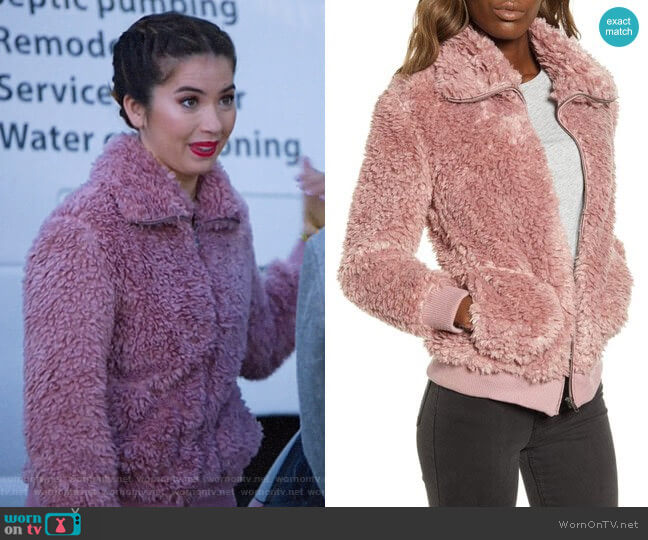 BB Dakota Teddy Or Not Faux Fur Bomber Jacket worn by Cheyenne (Nichole Bloom) on Superstore
