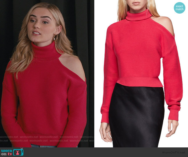 Contrast Cutout Turtleneck Sweater by BCBGeneration worn by Taylor Otto (Meg Donnelly) on American Housewife