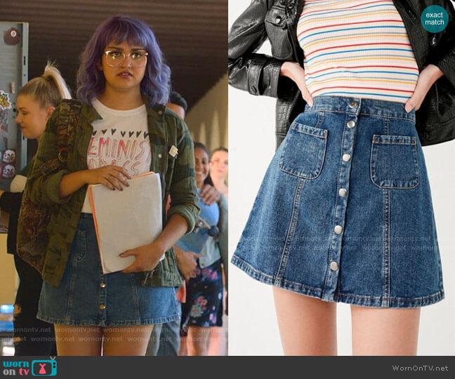 Denim Button-Front Skirt by BDG worn by Gert Yorkes (Ariela Barer) on Marvels Runaways