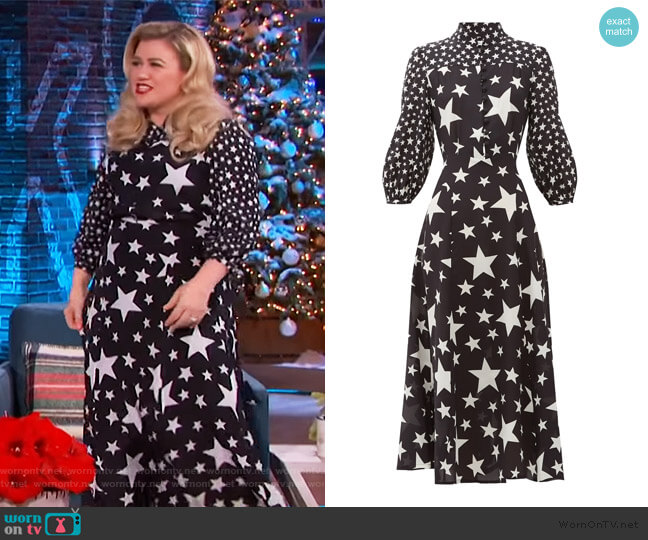 Emanuelle star-print silk-crepe dress by Bella Freud worn by Kelly Clarkson  on The Kelly Clarkson Show