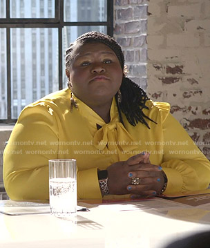Becky's yellow tie neck blouse on Empire