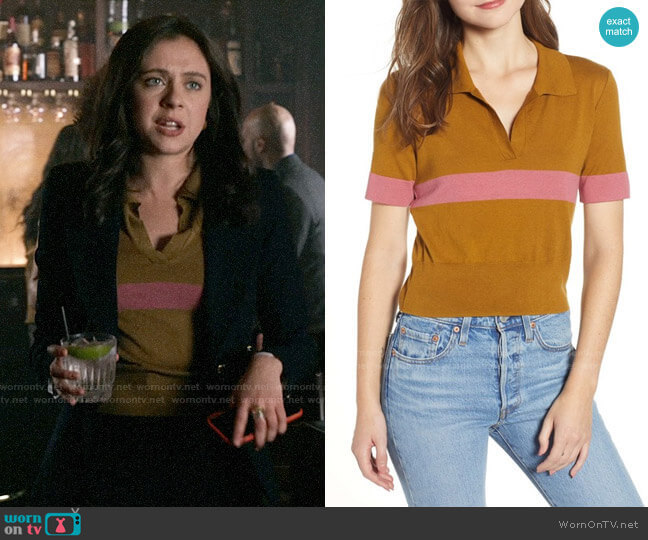 BP Stripe Polo Sweater worn by Claire Conway (Bel Powley) on The Morning Show