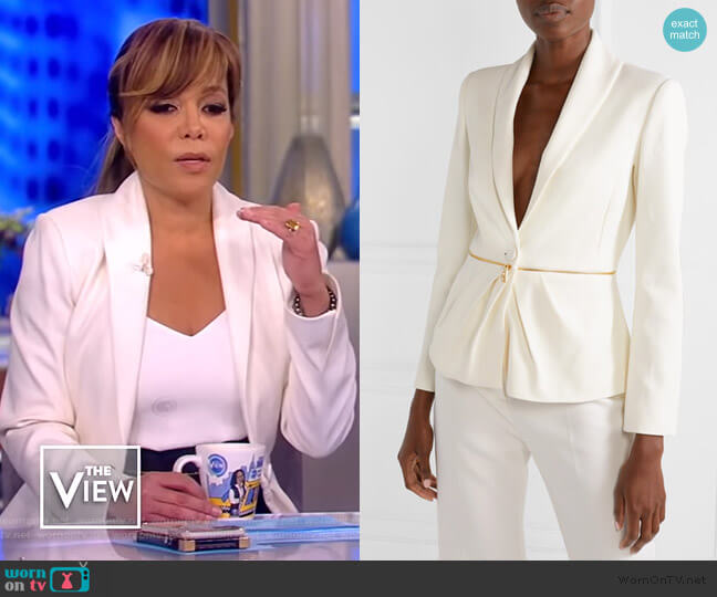 Zip-embellished pleated twill blazer by Brandon Maxwell worn by Sunny Hostin  on The View