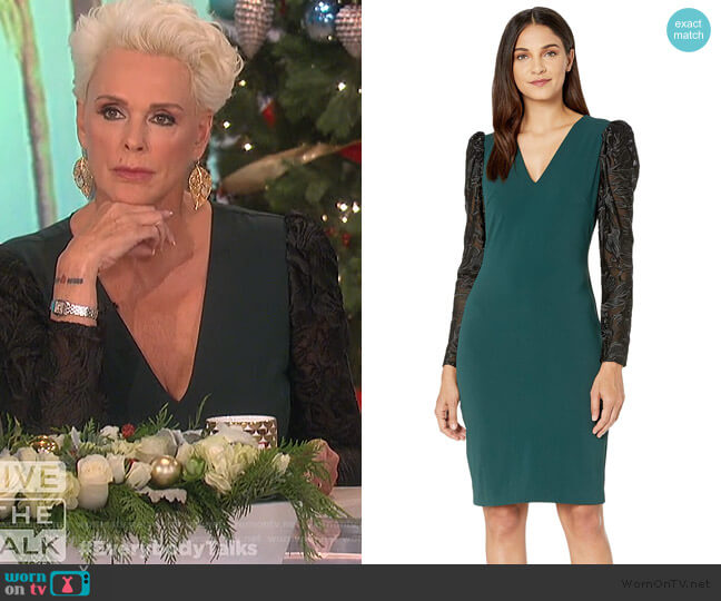 V-Neck Balloon Sleeve Cocktail Dress by Badgley Maschka worn by Brigitte Nielsen on The Talk