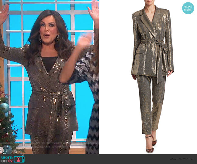 Sequin Long-Sleeve Belted Smoking Jacket and Pants by Badgley Mischka worn by Marie Osmond  on The Talk