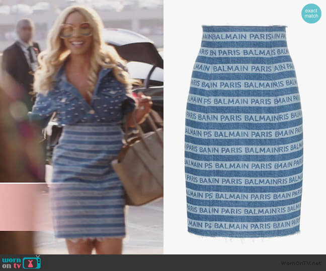 Denim Stripe Logo Pencil Skirt by Balmain worn by Yovanna Momplaisir on The Real Housewives of Atlanta