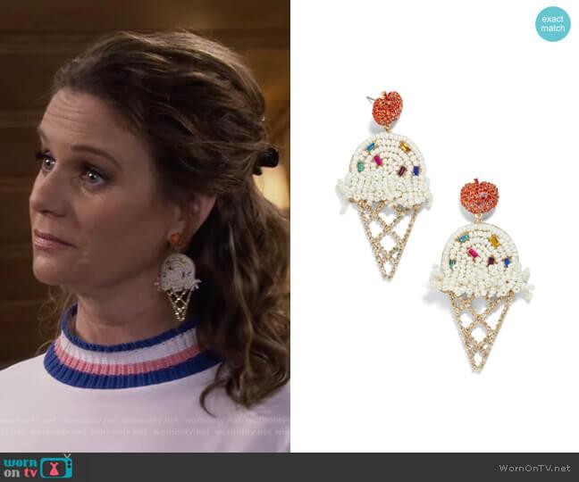 Beaded Ice Cream Cone Earrings by Baublebar worn by Kimmy Gibbler (Andrea Barber) on Fuller House