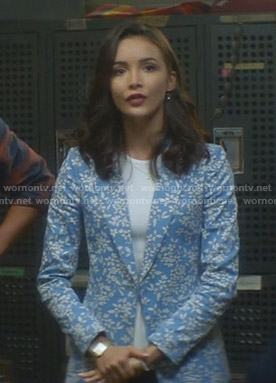 Bess's blue floral blazer on Nancy Drew