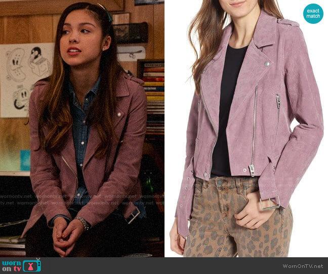 Blank NYC Lilac Suede Moto Jacket worn by Nini (Olivia Rodrigo) on High School Musical The Musical The Series