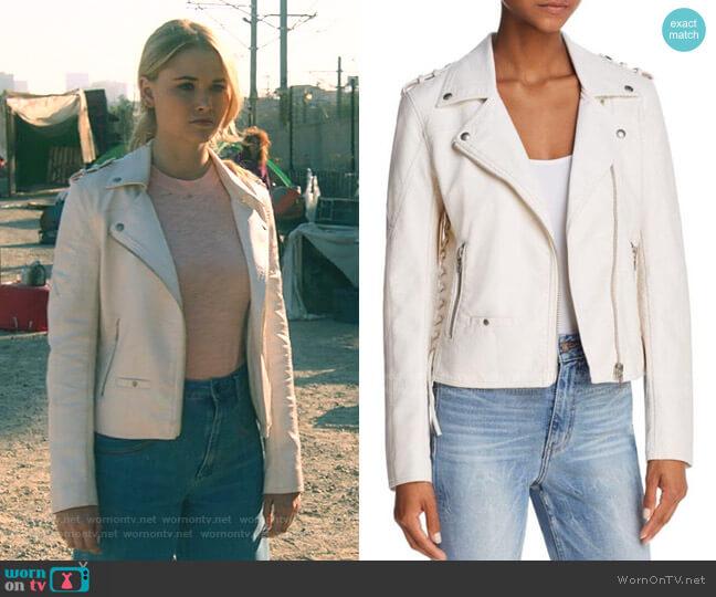 Lace-Up Faux Leather Moto Jacket by Blank NYC  worn by Karolina Dean (Virginia Gardner) on Marvels Runaways